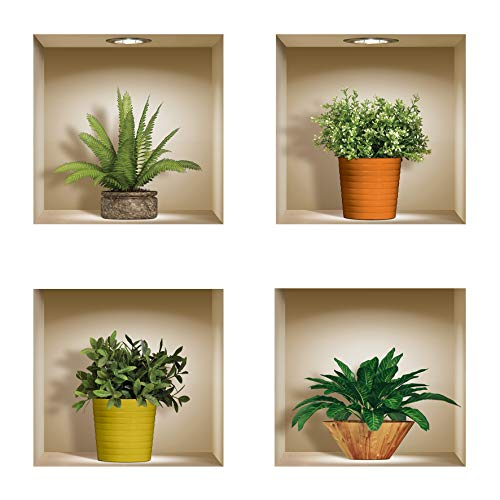 The Nisha DIY Pegatinas Etiquetas para Pared Desmontables de Vinilo 3D Arte Mágico, Conjunto de 4, Plantas verdes