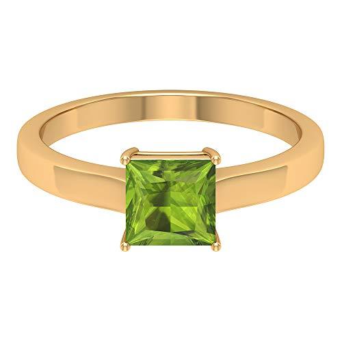 Anillo de oro peridoto de 1.15 quilates con corte princesa, certificado SGL, anillo de boda, declaración mujer promesa, solitario clásico, 14K Oro amarillo, Size:EU 70