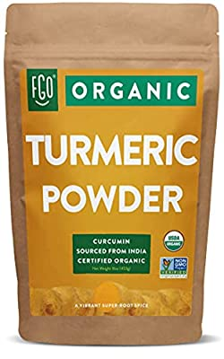 Organic Turmeric Root Powder w/Curcumin   Lab Tested for Purity   100% Raw from India   16oz/453g (1lb) Resealable Kraft Bag   by FGO
