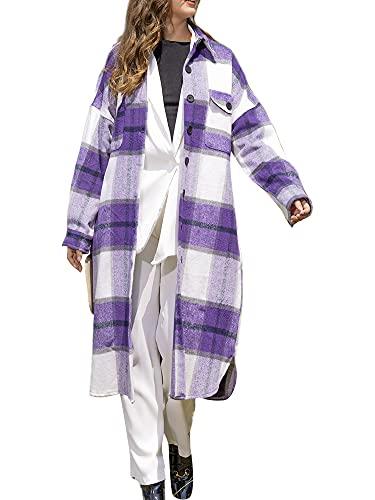 Las mujeres largas a cuadros camisa térmica chaqueta chaqueta vintage abotonados Split Pocketed solapa abrigo otoño invierno chaqueta, Morado (, L