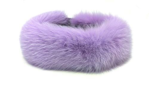 HIMA 100% Real Fox Fur Headband Collar Neck Warmer Made in US (Lavender)