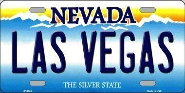 Metal tin sign 8x12 inches Las Vegas Nevada Background Novelty Metal License Plate