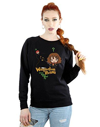 HARRY POTTER Femme Hermione Granger Wingardium Leviosa Junior Sweat-Shirt Small Noir