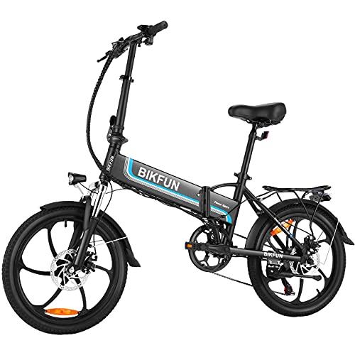 "BIKFUN Bici Elettrica Pieghevole da 20"", 48V 250W Bicicletta Elettrica Pedalata Assistita, Batteria 10Ah 480Wh, Shimano a 7 Velocità, Bici Elettriche E-Bike Unisex (Nero opaco)"