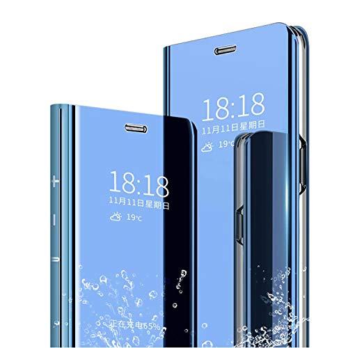 cookaR Oppo Realme 5/Realme5S/5i Hülle Spiegel Schutzhülle Flip Handy Hülle mit Standfunktion Handyhülle Tasche für Oppo Realme 5s/Realme 5/5i Smartphone,Blau