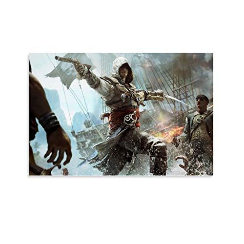 DRAGON VINES Assassin's Creed IV Bandera Negra Edward Kenway Pistola Cuchillo Pirata Battle Cool Póster Impresión en lienzo 20 x 30 cm