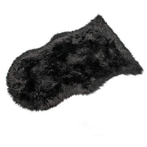 HEQUN Faux Lammfell Schaffell Teppich Kunstfell Dekofell Lammfellimitat Teppich Longhair Fell Nachahmung Wolle Bettvorleger Sofa Matte(Schwarz, 60 X 90 cm)