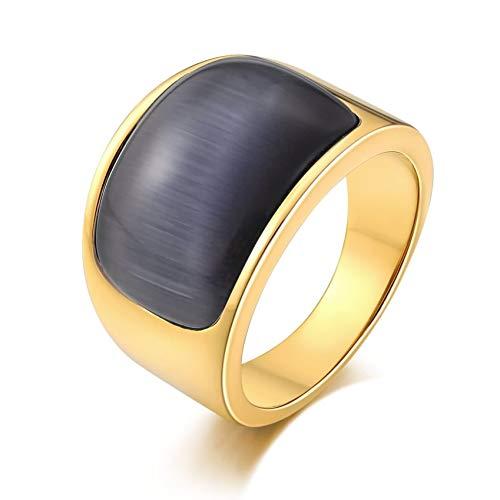 Ubestlove Siegelring Vergoldet Damen Edelstahl Siegelring Edelstahl Herren Halbbogen Signet Ring Grau Grey 61.5