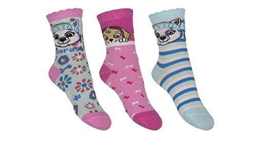 Nickelodeon's Paw-Patrol Socken 3er Set Skye und Everest Mädchen Kinder, Größe:31/34 EU