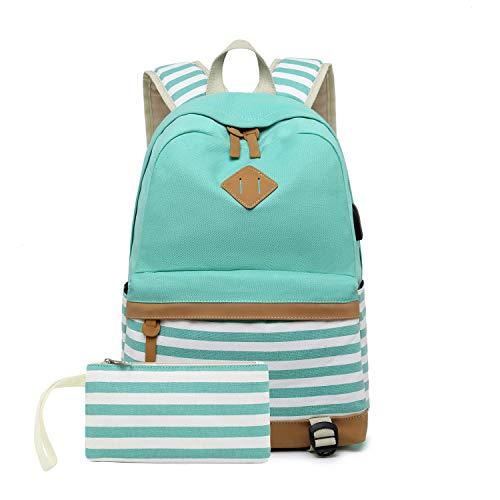 misognare Canvas College Student Bag Laptop USB Backpack High School Rucksack for Men Women (Green)