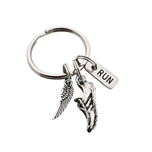 WING SHOE RUN Key Chain - Pewter Wing Charm, Pewter Running Shoe Charm and Pewter Rectangle RUN Charm on Stainless Steel Round Key Ring