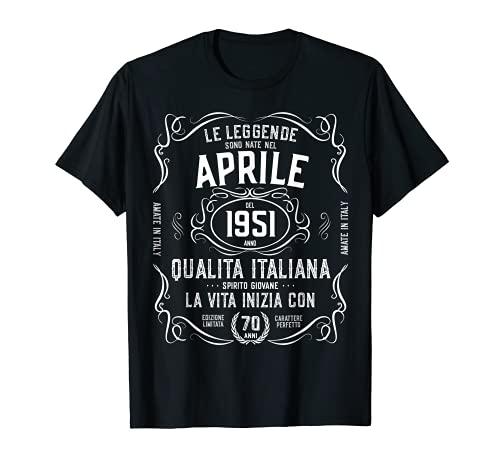 70 Anni nata nel Aprile 1951 Regalo Compleanno Leggenda Maglietta