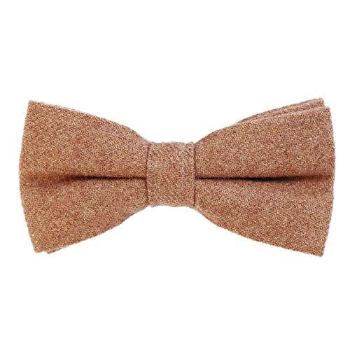 DonDon Herren Fliege 12 x 6 cm Baumwolle gebunden und längenverstellbar hellbraun
