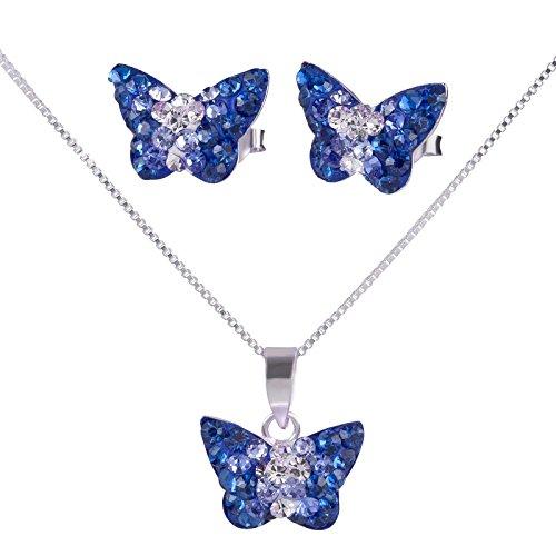 SL-Silver - Set di Collana e orecchini per bambine con ciondolo a forma di farfalla, cristallo e argento 925, in confezione regalo