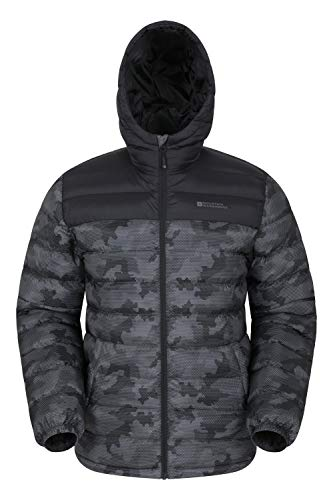 Mountain Warehouse Season Mens Padded Jacket - Water Resistant Jacket, Lightweight, Warm, Lab Tested to -30C, Microfibre Filler - for Winter Travelling, Walking Black M