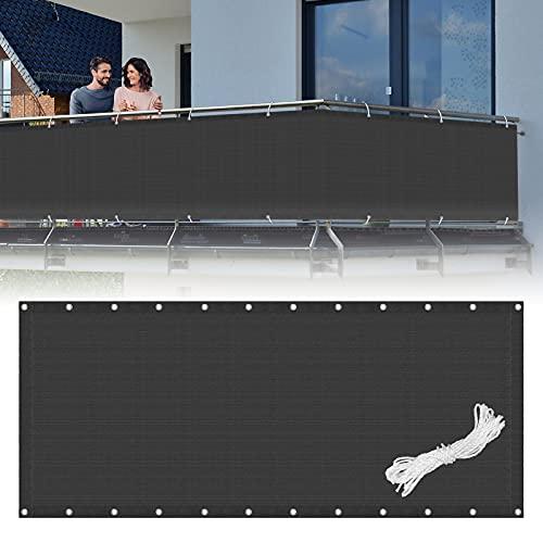LARS360 Sichtschutz Balkonsichtschutz Anthrazit/Grau Balkonumspannungen Sichtschutzstreifen HDPE 180g/m² Windschutz Sonnenschutz für Gartenzaun, Balkon, Terrasse (Anthrazit 90x600cm)