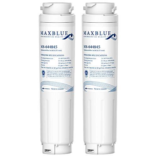 Maxblue 644845 - Filtro dell'acqua per Frigorifero, Compatibile con Bosch UltraClarity 644845, 00740560, 740560, 00499850, 00649379, 9000194412, 9000077104, Miele/Haier 0060820860, 0060218743 (2)