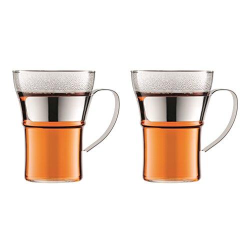 Bodum ASSAM 2-teiliges Kaffeeglas-Set (Metallgriff, Spülmaschinengeeignet, 0,35 liters) glänzend