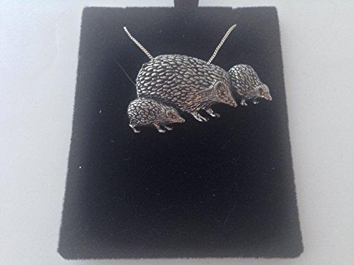 Collar de plata de ley 925 con colgante de familia de erizo, hecho a mano, cadena de 66 cm, con caja de regalo