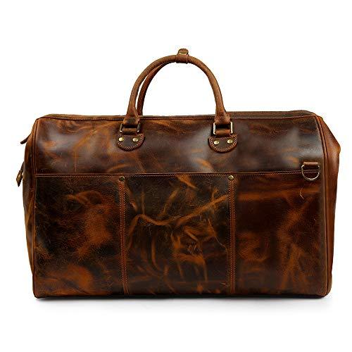 Source Point - Bolsa de viaje de piel auténtica, tamaño grande, estilo vintage, para equipaje de mano, bolsa de deporte, de piel, unisex Braun-f talla única