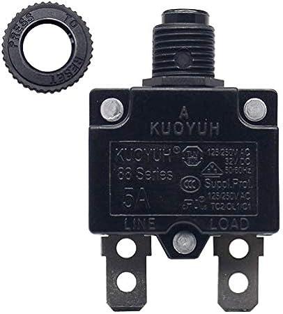 3-17A 5 Amp 1pc KUOYUH Circuit Breaker 88 series 125//250VAC 50//60Hz