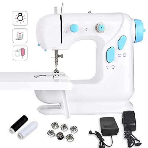 Naaimachine, mini-naaimachine met uittrekbare tafel, 2 snelheden, verstelbaar, blauw en wit met pedaal -12.30
