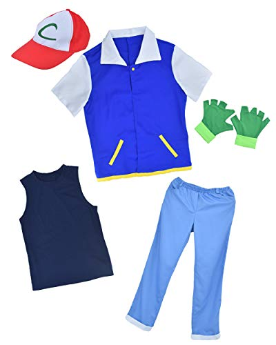 DAZCOS Child Size Ash Ketchum Monster Trainer Cosplay Costume with Cap (Medium)