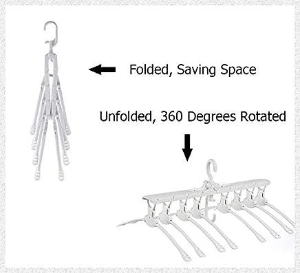 PKWEHKG Multi Non-Slip Space Saving Plastic Clothes Hanger Folding Retractable Closet Storage Organizer 360 Swivel Chrome Hook Hanger