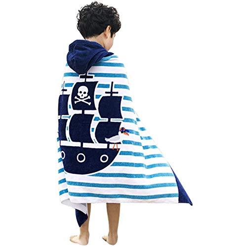 100% Cotone Asciugamano da Mare con Cappuccio Telo Mare per Bambini da Bagno Nuoto Vacanza...