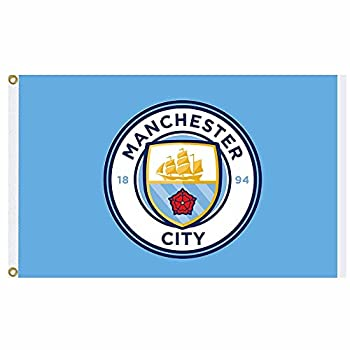 MCFC Official Manchester City Crest Premier League Champions Flag  5ft x 3ft & 100% Polyester