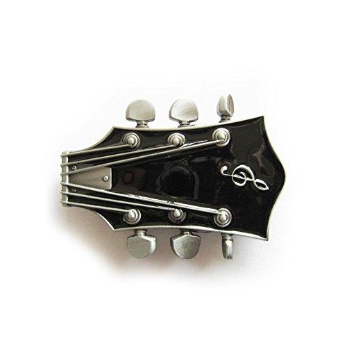 eeddoo® Gürtelschnalle - Gitarre schwarz - Music Guitar Buckle (für Wechselgürtel für Damen und Herren | Belt Frauen Männer Musik Rock n Roll Pop Heavy Metal Oldschool Metall Western Trucker)
