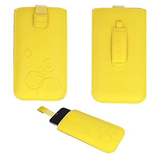 Handyschale24 Slim Hülle für Medion Life E5006 Handytasche Gelb Schutzhülle Tasche Cover Etui mit Klettverschluss