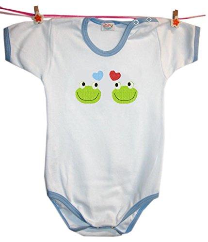 Zigozago - Body Bèbè à Manches Courtes pour bébé avec Broderie Love Frogs Taille: 18-24 Mois - Couleur: Bleu - 100% Coton