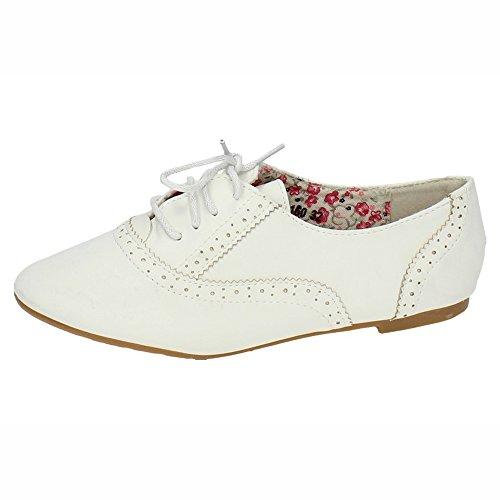 ZAPATOP PA160 Zapatos Blucher NIÑA NIÑA Zapato COLEGIAL Blanco 35