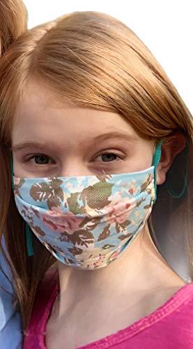 Torelle Mundmaske Mädchen 100% Baumwolle (2-lagig) waschbar, Gesichtsmaske, Maske für Kinder, Made in EU, Blumen hellblau