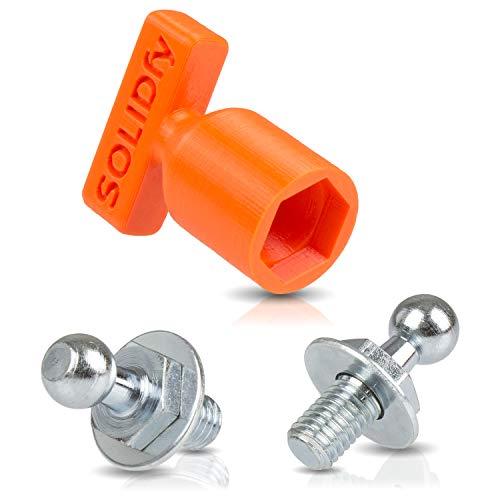SOLIDfy® - 2x verstärkte Kugelzapfen für Gasdruckfeder Heckklappe 10mm Kugel M8 Gewinde
