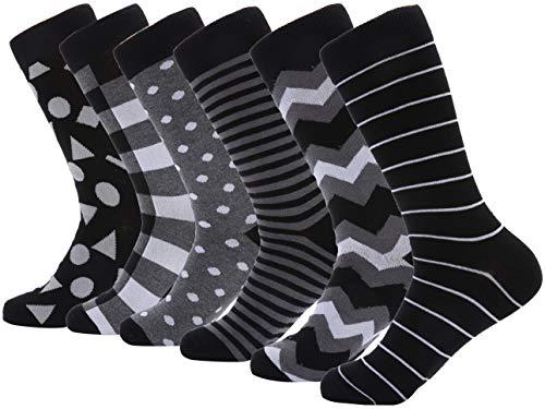 Mio Marino Mens Dress Socks - Moisture Control - Everyday Crew Socks - 6 Pack - Raven Sharp - 10-13