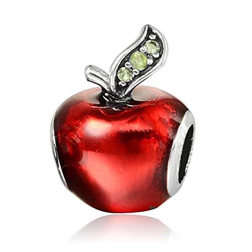 925 Plata Pandora Color Original Navidad Red Apple Beads Charm Pulsera Europea Brazaletes Diy Joyería De Lujo Para Mujer