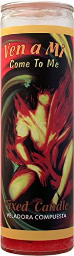 Indio 7DAY Candle-VM Come to ME RED:Mystical Fixed 7 Day Glass Candle Come to Me - Red