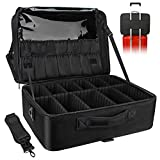 Plenty of Storage Space: This large Makeup Organizer is divided into 3 layers. 3 large elastic bags can hold straight hair sticks and other items. 14 small elastic bags with plastic lids can hold various makeup brushes. A large mesh zip pocket and a ...