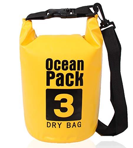 XENOBAG Wasserfeste Tasche 3 Liter/Dry Bag, klein/Ocean Pack 3l / wasserdichter Beutel/Drybag mit verstellbarem Schultergurt und Sicherheitsverschluss (Gelb, 3 Liter)