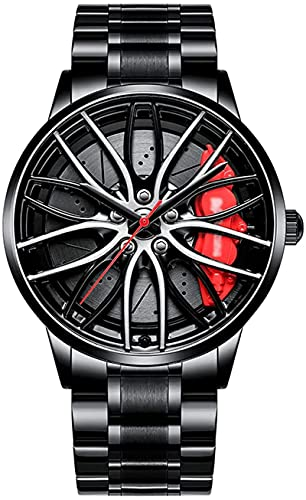 ZHUZE Auto Rad Felgen Nabenuhr - Hohl wasserdicht Sport Uhr für Herren Geschenke Armbanduhren, wasserdichte Edelstahl Armbanduhr, wasserdichte Edelstahl Armbanduhr (A Black)
