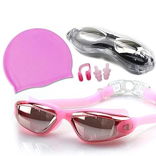 AUTOTUO Gafas de natación, luz polarizada, Impermeables y antivaho, Equipadas con Caja de Almacenamiento, Gorro de baño, Pinza Nasal, Tapones para los oídos, Traje Rosa para Hombre y Mujer