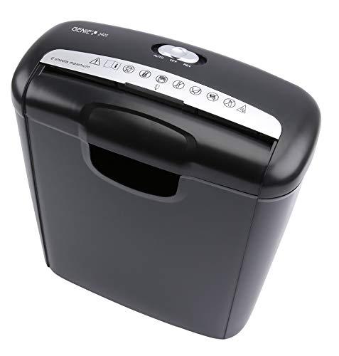 Genie Destructora 240 S (hasta 6 hojas, corte en tiras (nivel de seguridad P-2), con trituradora de tarjetas de crédito, incluye papelera, color negro