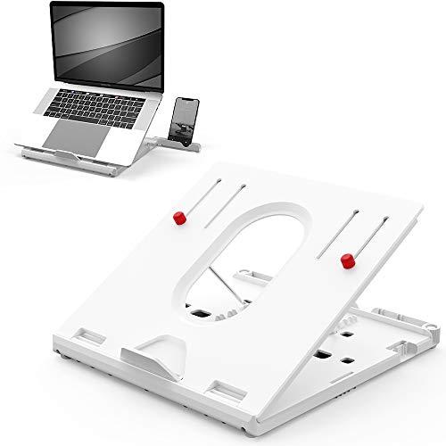 TATE GUARD Laptopständer Erhöhung für den Tisch höhenverstellbar tragbar leicht integrierte Handyständer Notebook Tablet-Halter Schreibtisch Tablett Halterung belüftete, ergonomische Höhe