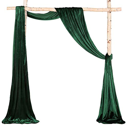Wedding Arch Drapping Curtain 6 Yards Green Velvet Fabric Drapery Indoor or Outdoor Ceremony Reception Backdrop Swag Christmas Decorations