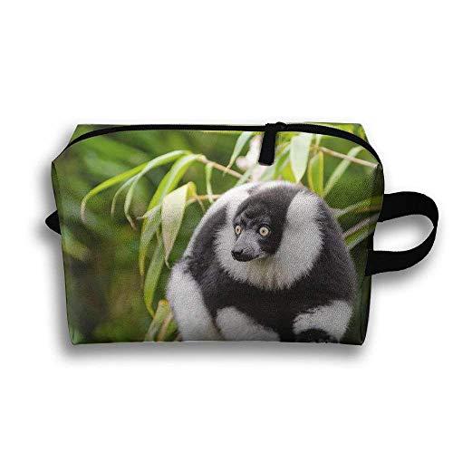 Schwarzweiss-Maki, der auf tragbarer Reise-Make-up-Tasche des Baum-Stammes, Aufbewahrungstasche-tragbare Damen-Reise-Quadrat-Kosmetiktasche sitzt