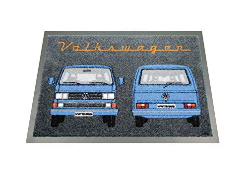 Brisa VW Collection Volkswagen T3 Bus Alfombrilla, 70x50cm - Frontal & Trasera/Azul