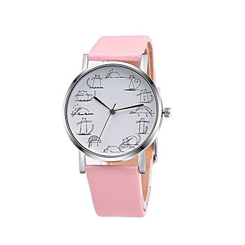 Bokeley Women Watches,Retro Lovely Cartoon Cat Leather Band Analog Quartz Wrist Watch (Pink)