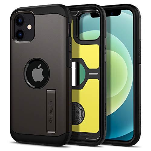 【Spigen】 iPhone 12 Mini ケース 5.4インチ 対応 米軍MIL規格取得 耐衝撃 三層構造 スタンド付き スマホスタンド カメラ保護 傷防止 衝撃 吸収 Qi充電 ワイヤレス充電 アイフォン12 ケース アイフォン12ミニケース カバー シュピゲン タフ・アーマー (ガンメタル)